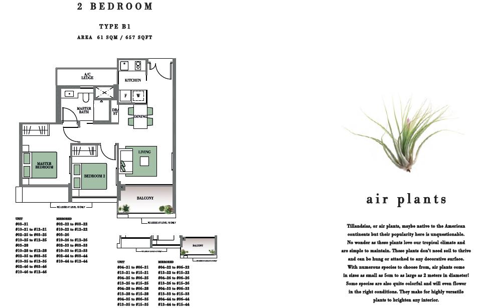 Botanique Bartley Floor Plan 2BR Type B1 657 SF