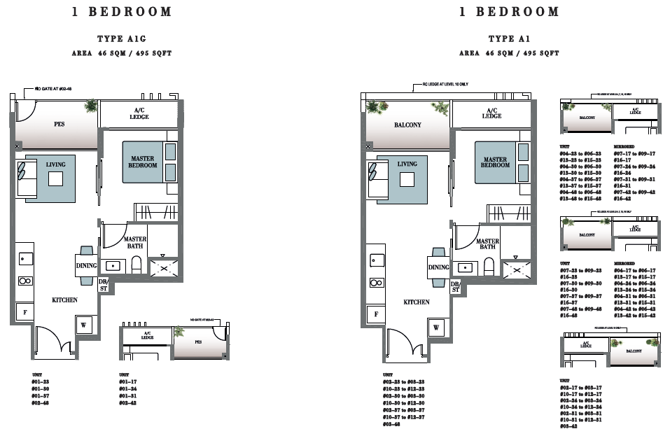 Botanique at Bartley Floor Plan 1BR Type A1 495 SF